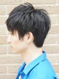 2ブロック黒髪パーマ