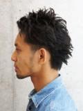 黒髪アップハードショート