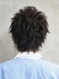 メンズ定番黒髪アップバングウルフ