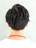 黒髪ブラストサイドパートマッシュ
